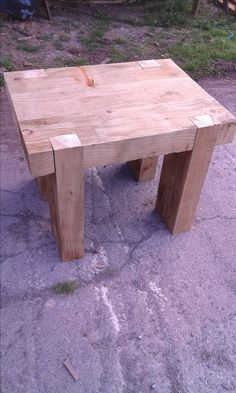 outdoor table made from sleepers Timber Gates, Outdoor Tables, Furniture, Home Decor, Wood Gates, Decoration Home, Room Decor, Home Furnishings, Arredamento