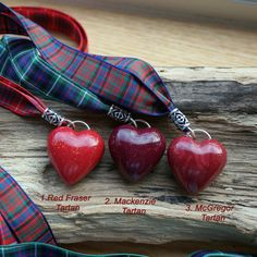 Pendant Necklace A Scottish Tartan Valentine Red by ShooglyBeads, £12.50