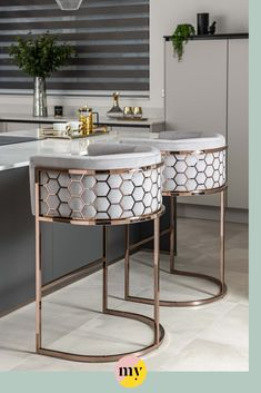 A unique and distinctive bar stool with laser cut hexagonal detailing. Open Plan Kitchen Living Room, Home Decor Kitchen, Kitchen Interior, Kitchen Ideas, Dining Room Design, Interior Design Living Room, Interior Livingroom, Luxury Kitchen Design, Kitchen Stools