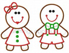 Gingerbread Boy AND Girl Applique - Christmas Applique Design - 2 Designs - 3 Sizes