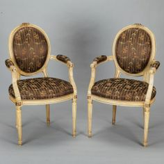 """Pair French Chairs with Chinoiserie Silk Fabric --- Pair of French arm chairs have a pale yellow painted finish and are upholstered in new brown silk fabric. ---  Arm Height:  27.75"""" --- Seat Height:  19.5"""" ---  Seat Depth:  19"""" ---  Item: 386 --- Retail Price: $2995"""