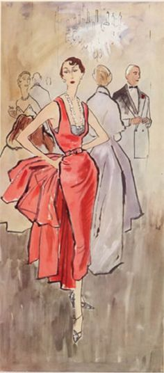 Illustration by Bernard Blossac, Christian Dior Couture. Fashion Illustration Dresses, Fashion Illustration Sketches, Illustration Mode, Fashion Sketches, Design Illustrations, Fashion Drawings, Vintage Dior, Moda Vintage, Vintage Fashion