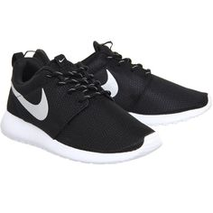 Nike Roshe Run ($100) ❤ liked on Polyvore featuring shoes, white shoes, black shoes, nike shoes, silver metallic shoes and kohl shoes