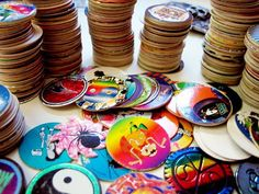 """Who didn't love pogs? i had the best slammer.J Simpson one that said, """"I didn't do it man!"""" I had the best ones.I remember there being a pog kiosk stand in the mall. 90s Childhood, My Childhood Memories, Game Boy, Super Nintendo, N64, Best Christmas Toys, 90s Toys, 90s Nostalgia, Polly Pocket"""