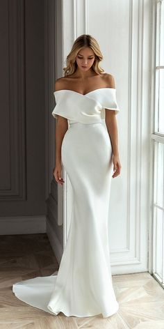 10 Wedding Dress Designers You Want To Know About ❤ wedding dress designers off the shoulder sheath simple eva lendel #weddingforward #wedding #bride