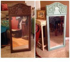 Mirror cost more than I like to pay but I wanted something for edge of stairs. Mirror came from old dresser. Took me about 30 minutes. Luv the new look!  I will probably have it sit on floor but I could easily add hanging hooks on back for wall decor.