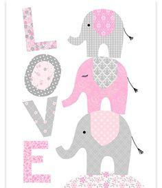 Elephant Nursery Love Print Elephants Stacked Baby Girl Decor Girl Room Wall Art Elephant Wall Art Pink and Grey Baby Room Art Print by SweetPeaNurseryArt on Etsy