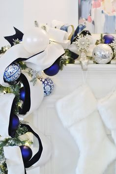 2019 Blue and White Christmas Decorating Tour - Thistlewood Farm Blue Christmas Decor, Gold Christmas Decorations, Wood Christmas Tree, Christmas Fireplace, Farmhouse Christmas Decor, Christmas Mantels, White Christmas, Christmas Home, Christmas Wreaths