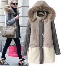 AS44 winterjas vrouwen 2016 Vrouwelijke Hooded breien mouw Donsjack Warme Winter Slim Parka Dames Jas Winte Plus Size(China)