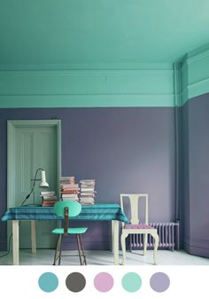 Turquoise jade with dark gray and deep purple have the ceiling paint come down on the wall #homedecor #colorful