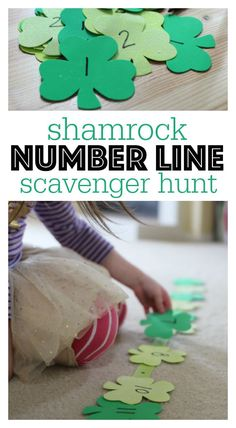 Make math fun and active with this gross motor math activity. Number line scavenger hunt with a St.Patrick's day twist!