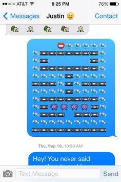 My boyfriend and I were having a text war, only using emoji's. I won with my version of pacman!!