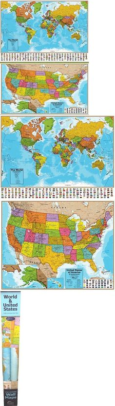 Other travel maps 164807 united states of america usa us watercolor other travel maps 164807 hemispheres blue ocean series world and us laminated wall maps educational gumiabroncs Gallery