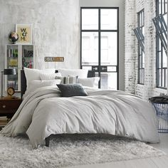 Kenneth Cole Reaction Home Elements Reversible Full/Queen Duvet Cover in Grey