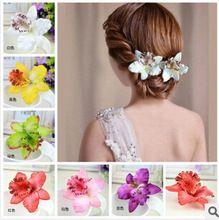 Nuevo estilo de Bohemia de la orquídea flores de peonía pelo de las horquillas para mujer accesorios para el pelo para playa 7 colores pueden ser elegido(China (Mainland))