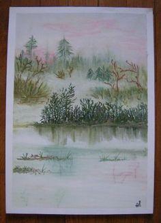 « Brumaille », brume, lac, pastels, dessin
