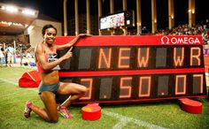 Genzebe Dibaba of Ethiopia posing with her new world record World Records, Ethiopia, Life Goals, African, Running, News, Sports, Athletes, Museum