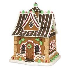 "17"" Spearmint Holly Manor Gingerbread House Table Top Christmas Decoration"