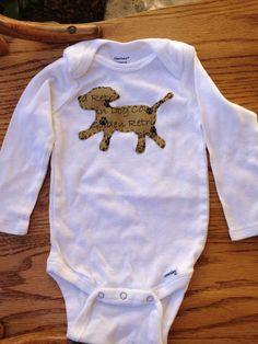 Puppy Print Applique Long Sleeve Onesie 12 Months. $10.00, via Etsy.