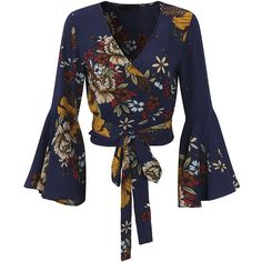 Gracila Sexy Floral Print Long Horn Sleeve Tie V-neck Women Blouses (3,26 BRL) ❤ liked on Polyvore featuring tops, blouses, long blouse, tie-neck blouses, sleeve blouse, tie top and floral blouse