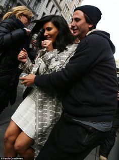 He's got you: Kim got a supportive arm from pal Jonathan Cheban while out in the city earlier on Tuesday Kardashian Style, Kardashian Jenner, Jonathan Cheban, Lace Skirt, Sequin Skirt, White Outfits, Her Hair, Street Style, Celebrities