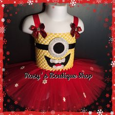 Christmas Minion Tutu Dress Ready to ship, perfect for Christmas pictures,parties,etc.