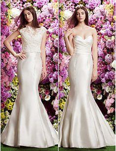 Trumpet/Mermaid Sweetheart Court Train Wedding Dress (Lace/Satin) - USD $ 299.99