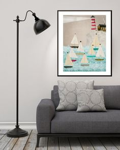the lighthouse lights the way for the autumn evenings whimsical race .. colorful illustration of color my little art adventures of native and whimsical joy wonderful little treats for any corner or wall of your home or office bring the nature and adventure to life within. Color Your World!!  watermark does not appear on final print.  Gallery quality Giclée print on natural white, matte, ultra smooth, 100% cotton rag, acid and lignin free archival paper using Epson K3 archival inks. Custom…
