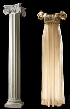 Robe Palladio, Collection Christian Dior Haute-Couture, robe du soir en crêpe Gerogette de soie blanche, plissée, style colonne grecque.