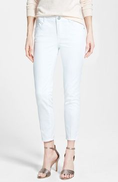 Wit & Wisdom 'Silky' Stretch Ankle Skinny Jeans (Optic White) (Nordstrom Exclusive) available at #Nordstrom