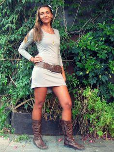 Long Sleeves Bohemian Mini Dress - Open back tunic dress