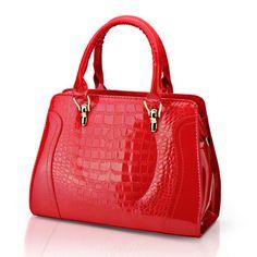 Women Crocodile Pattern Patent Leather Handbag