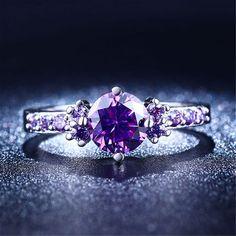 Thời trang Màu Tím Bạc Trang Sức Amethyst cz kim cương nhẫn phụ nữ midi engagement wedding nhẫn nữ dễ thương trang sức bijoux L200