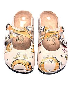 Love this Beige & Orange Cat Clog on #zulily! #zulilyfinds
