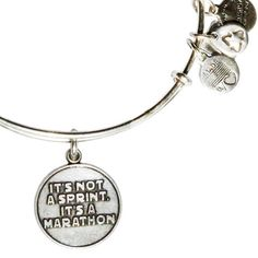 Alex and Ani It's Not a Sprint, It's A Marathon Expandable Wire Bangle Russian Silver
