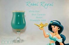 """""""Rebel Royal"""" - white rum, blue curacao, midori, pineapple juice Cocktails by Cody Disney Cocktails, Cocktail Disney, Disney Themed Drinks, Disney Alcoholic Drinks, Disney Mixed Drinks, Bartender Drinks, Drinks Alcohol, Blue Curacao, Cocktail"""
