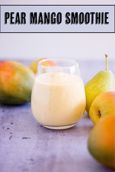 Made with pears, mango, milk and Greek yogurt, this pear mango smoothies makes a perfect light, refreshing breakfast. Mango Smoothies, Mango Smoothie Recipes, Protein Shake Recipes, Vegan Smoothies, Yummy Smoothies, Best Non Alcoholic Drinks, Drinks Alcohol Recipes, Drink Recipes, Breakfast Recipes
