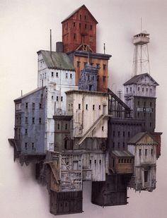 City scape: wall piece casas sobre pared escultura