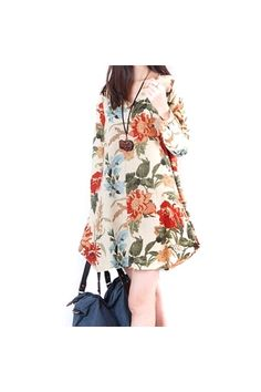 7df9edb7d9 Summer Style Women Clothing Top Fashion New Trendy Autumn Vestido Floral  Print Linen Casual Loose Long Sleeve Dress