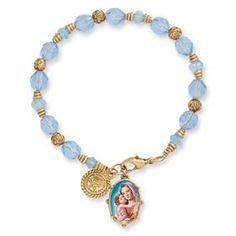 Gold-tone Madonna and Child Rosary Bracelet - 8 Inch - JewelryWeb JewelryWeb. $44.70