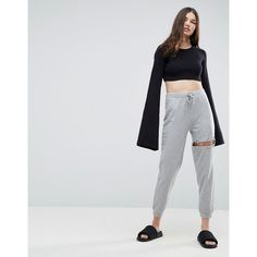 ASOS Jogger with Cut Out Ring Detail ($32) ❤ liked on Polyvore featuring activewear, activewear pants, grey, gray jogger sweatpants, jogger sweat pants, gray sweatpants, cotton sweatpants and cuff sweatpants