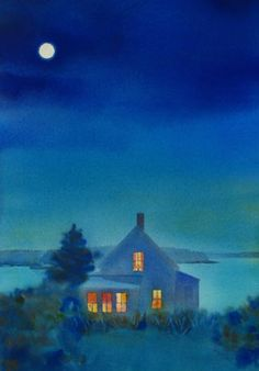 @Suzanne, with a Z. siegel  # paintings #watercolors    ****I love the look of a house at twilight, when its windows glow like this.  I know all is well within its walls.  I know there is soup bubbling on the stove top, and warm bread coming out of the oven very soon.  I know the fire in the fireplace is lit and there is laughter in the midst of it all....I know this much is true...