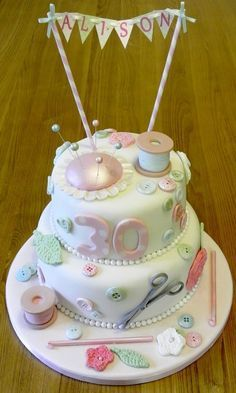 sewing / crochet - by SOH @ CakesDecor.com - cake decorating website