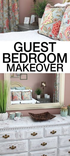 GUEST BEDROOM MAKEOVER filled with lots of DIY projects and gorgeous colors!