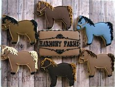 Wow April is a popular month for cookies. I really enjoyed decorating these fun cookies for friends ev. Farm Cookies, Horse Cookies, Cut Out Cookies, Cupcake Cookies, Sugar Cookies, Cupcakes, Horse Birthday, 2nd Birthday, Horse Treats