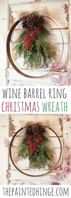 Easy to make DIY Wine Barrel Ring Christmas Wreath! It uses a wine barrel ring and natural materials to create a beautiful addition to your holiday decor! Wine Barrel Crafts, Wine Barrel Rings, Wine Barrels, Wine Cellar, Christmas Ring, Outdoor Christmas, Christmas Ornaments, Christmas Jokes, Christmas Swags