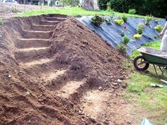 Coming across rock landscaping ideas backyard can be a bit hard but designing a rock garden is one of the most fun and creative forms of gardening there is. A proper recommendation for first timers Sloped Backyard Landscaping, Landscaping On A Hill, Sloped Garden, Landscaping Ideas, Steep Hillside Landscaping, Terraced Landscaping, Terraced Backyard, Landscaping Edging, Garden Beds