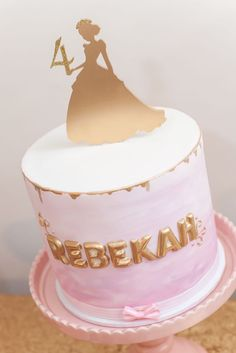 Love this cake!! Pink & Gold Princess Birthday Party via Kara's Party Ideas KarasPartyIdeas.com Printables, cake, decor, tutorials, and more! #princess #princessparty #pinkandgold #goldandpink #partyplannign #partystyling #karaspartyideas (10)