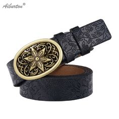 [AIBURTON]2016 Cowskin Leather Belts For Women Carved Design Metal Round Buckle Women Strap Cintos Ceinture Female High Quality