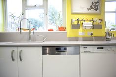 A beautiful White Gloss Curved Kitchen which has been brightened up with sunny yellow walls! German Kitchen, Bespoke Kitchens, Yellow Walls, Kitchen Design, Table, Furniture, Beautiful, Home Decor, Decoration Home